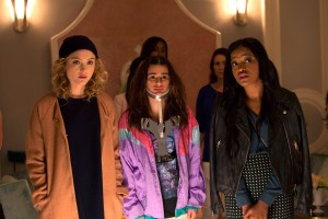 "SCREAM QUEENS:  Pictured L-R: Skyler Samuels as Grace, Lea Michele as Hester and Keke Palmer as Zayday in ""Pilot,"" the first part of the special, two-hour series premiere of SCREAM QUEENS airing Tuesday, Sept. 22 (8:00-10:00 PM ET/PT) on FOX. ©2015 Fox Broadcasting Co. Cr: Steve Dietl/FOX."
