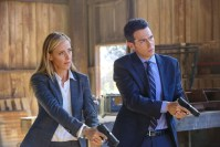 "BONES: L-R: Guest star Kim Raver and John Boyd in the ""The Brother in the Basement"" episode of BONES airing Thursday, Oct. 8 (8:00-9:00 PM ET/PT) on FOX. ©2015 Fox Broadcasting Co. Cr: Kevin Estrada/FOX"