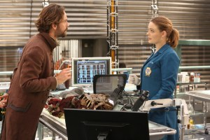 """BONES:   L-R:  Tom Mison and Emily Deschanel in the special """"The Resurrection in the Remains"""" BONES/SLEEPY HOLLOW crossover episode of BONES airing Thursday, Oct. 29 (8:00-9:00 PM ET/PT) on FOX.  ©2015 Fox Broadcasting Co.  Cr:  Patrick McElhenney/FOX"""