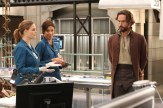 "BONES: L-R: Emily Deschanel, Michaela Conlin and guest star Tim Mison in the special ""The Resurrection in the Remains"" BONES/SLEEPY HOLLOW crossover episode of BONES airing Thursday, Oct. 29 (8:00-9:00 PM ET/PT) on FOX. ©2015 Fox Broadcasting Co. Cr: Patrick McElhenney/FOX"