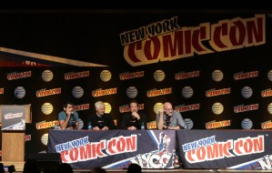 THE X-FILES: Moderator Kumail Nanjiani, THE X-FILES Creator/Executive Producer Chris Carter, Cast Member David Duchovny and Cast Member Mitch Pileggi during FOX FANFARE 2015 at New York Comic Con on Saturday, Oct. 10 at Javits Center in New York, NY.  CR: Ben Hider/FOX