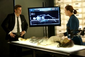 "BONES: L-R: David Boreanaz and Emily Deschanel in the ""The Monster In The Closet"" episode of BONES airing Thursday, April 28 (8:00-9:00 PM ET/PT) on FOX.  ©2016 Fox Broadcasting Co.  Cr:  Patrick McElhenney/FOX"