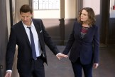 "BONES: L-R: David Boreanaz and Emily Deschanel in the ""The Fight in the Fixer"" episode of BONES airing Thursday, May 12 (8:00-9:00 PM ET/PT) on FOX. ©2016 Fox Broadcasting Co. Cr: Patrick McElhenney/FOX"
