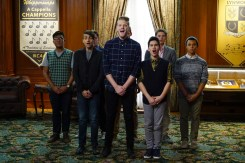 """BONES: Center L-R: Guest stars Mitchell Grassi, Scott Hoying and Sam Tsui in the """"The Strike in the Chord"""" episode of BONES airing Thursday, May 19 (8:00-9:00 PM ET/PT) on FOX. ©2016 Fox Broadcasting Co. Cr: Kevin Estrada/FOX"""