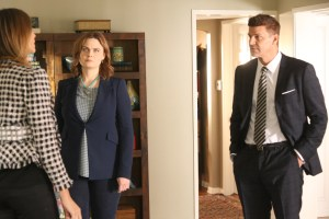 "BONES:  L-R:  Guest star Julie Claire, Emily Deschanel and David Boreanaz in the ""The Final Chapter:  The Tutor in the Tussle"" episode of BONES airing Tuesday, Jan. 31 (9:01-10:00 PM ET/PT) on FOX. ©2016 Fox Broadcasting Co. Cr: Patrick McElhenney/FOX"
