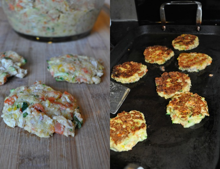 tuna veggie cakes cooking