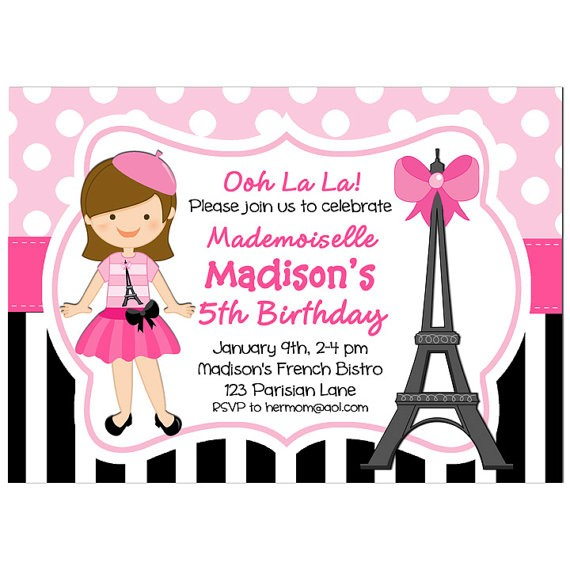 Paris Girl Birthday Party Invitation by That Party Chick - Parisian - girl birthday party invitations