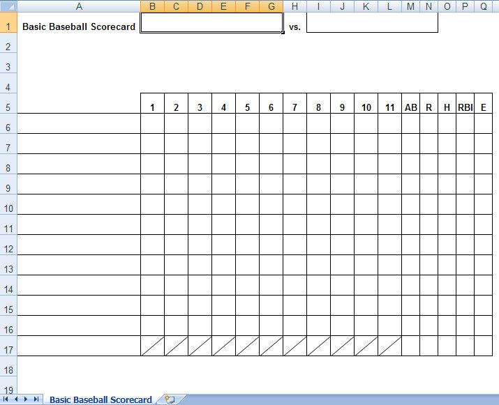 basic baseball scorecard - Selol-ink
