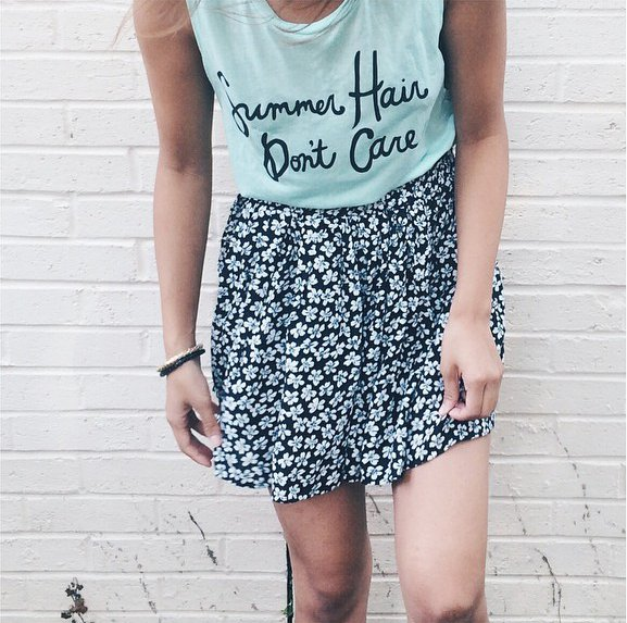 'Summer hair don't care' tee by Jawbreaking