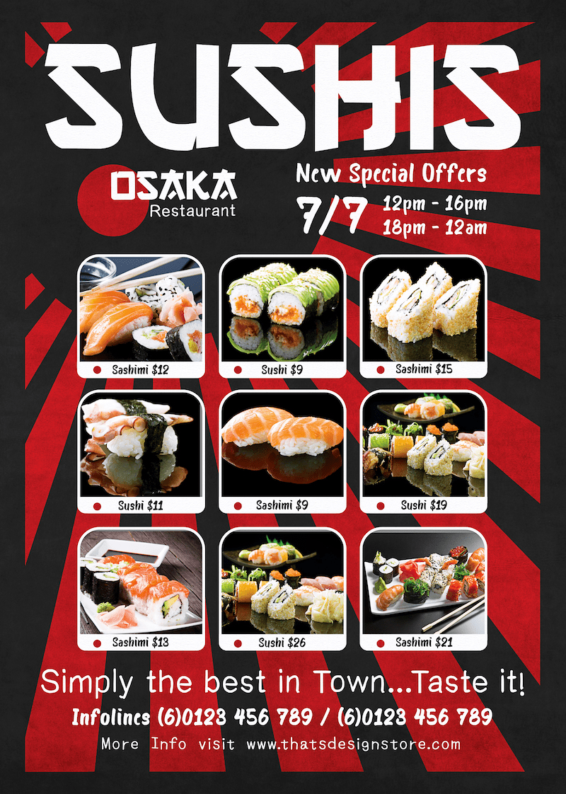 Sushi Delivery Flyer Template Thats Design! Store
