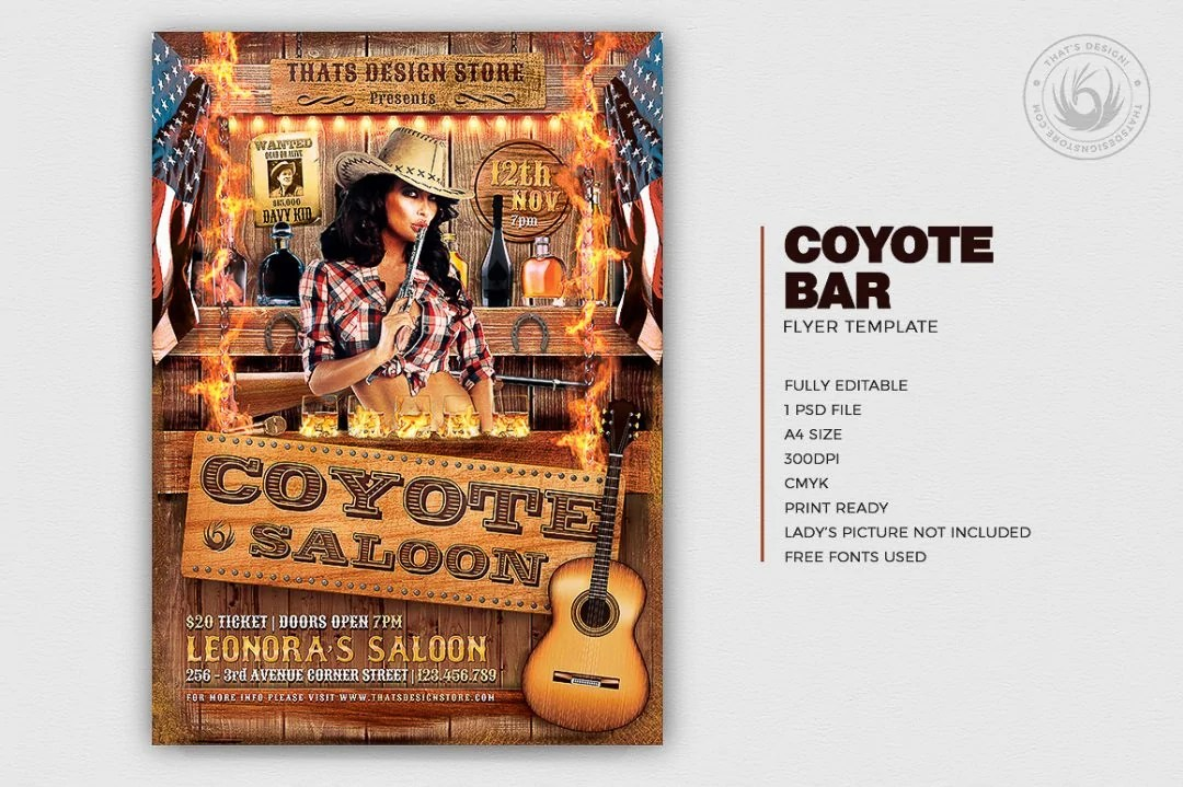 Coyote Bar Flyer Template Western Flyers for photoshop