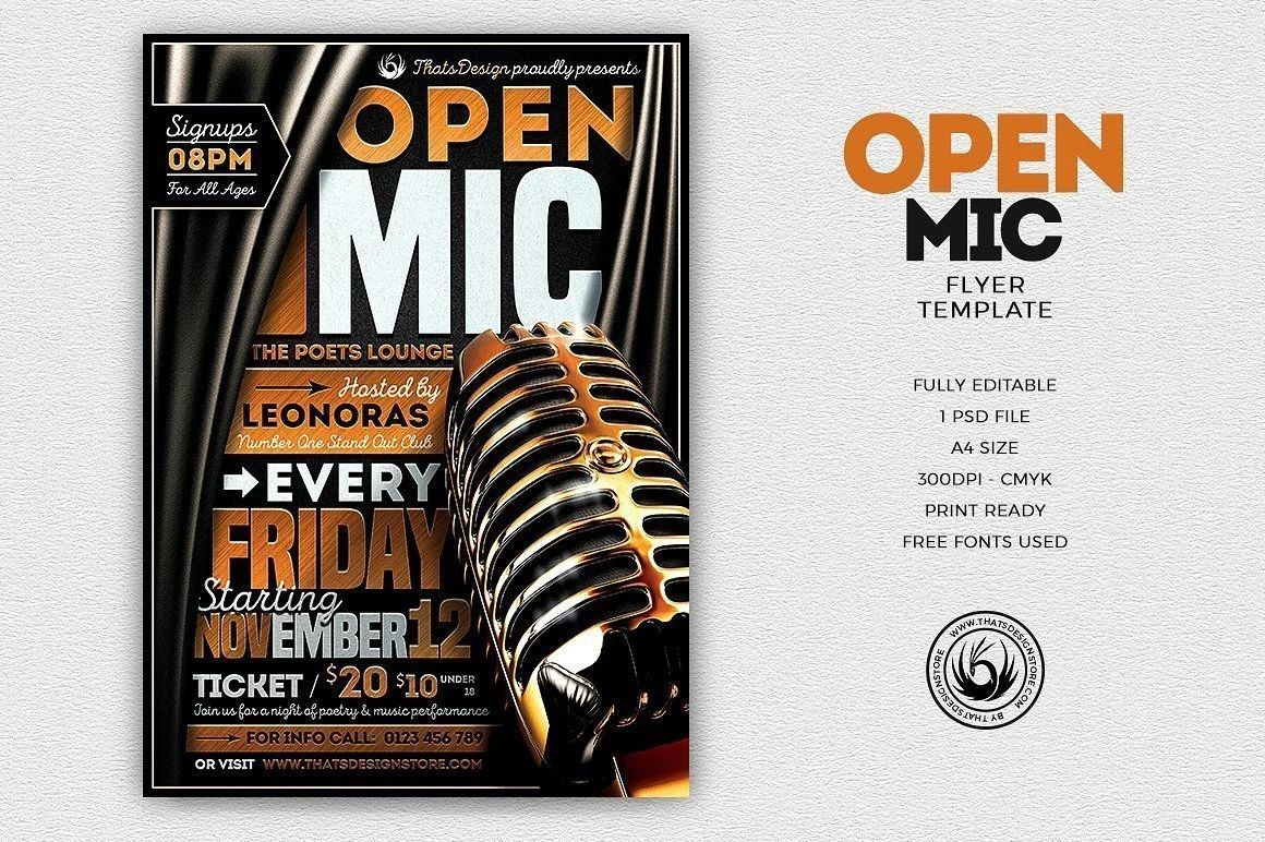 open mic night flyer templates