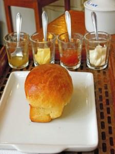 Brioche and condiments