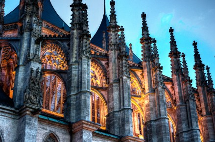 Kutna Hora cathedra with dramatic lighting at night