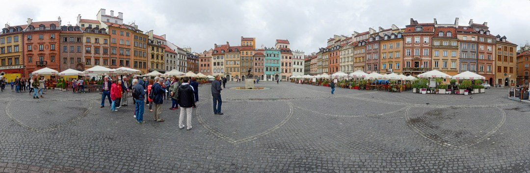 Extreme wide angle panorama of the old town square in Warsaw, Poland