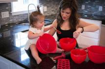 Emma and Mommy in kitchen