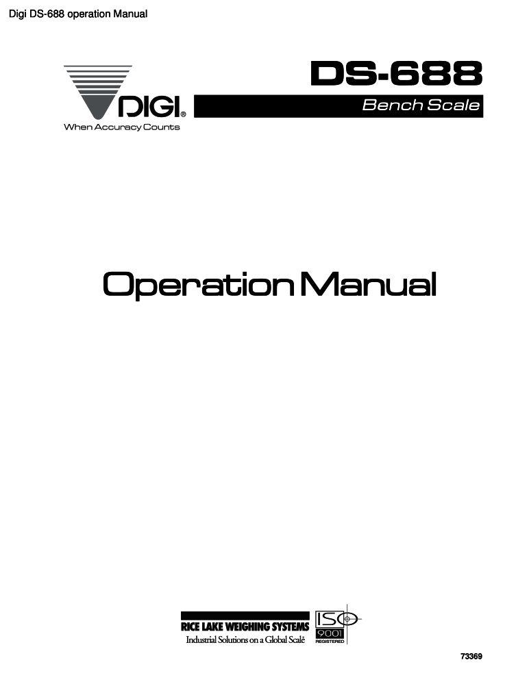 Digi DS-688 operation manual PDF - The Checkout Tech - Store