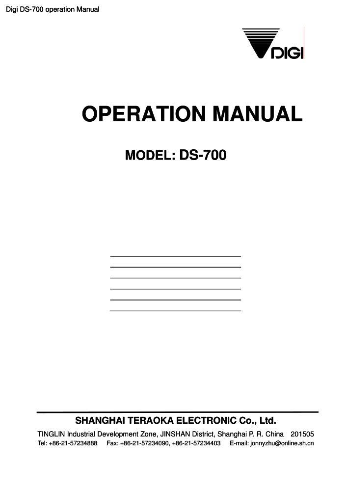 Digi DS-700 operation manual PDF - The Checkout Tech - Store