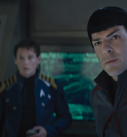 Left to right: Anton Yelchin plays Chekov and Zachary Quinto plays Spock in Star Trek Beyond from Paramount Pictures, Skydance, Bad Robot, Sneaky Shark and Perfect Storm Entertainment