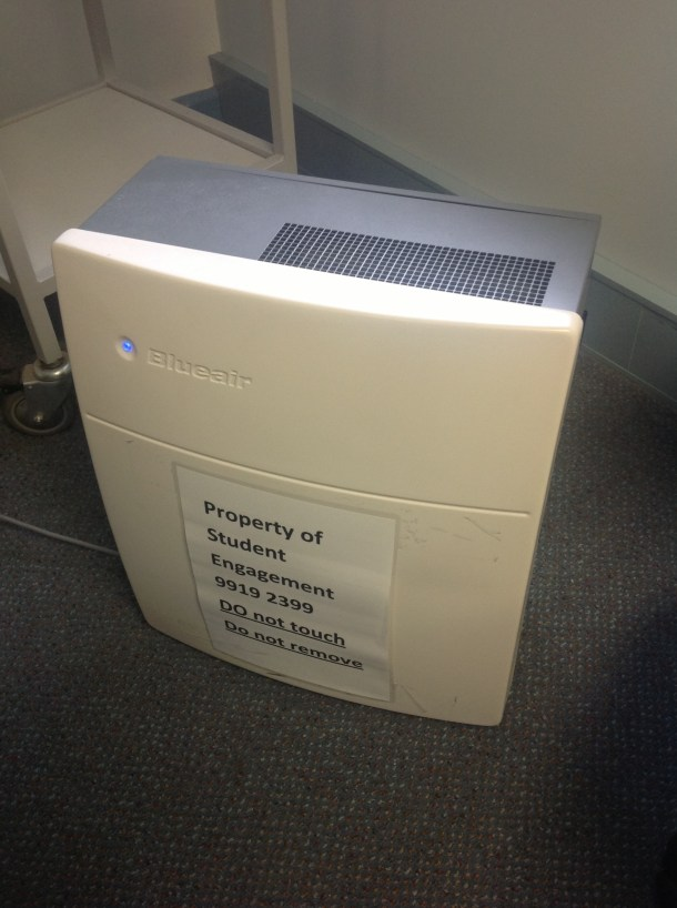 Blue Air Purifier Supplied by Victoria University Disability Services (VUDS) for students who are sensitive and allergic to chemical irritants that are in fragrances and spray on deodorants