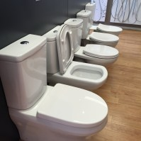 A selection of toilets from Reece plumbing at Drysdale, Victoria, Australia