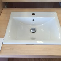 Roca Diverter sink (ours is back to wall and sits on the bench(