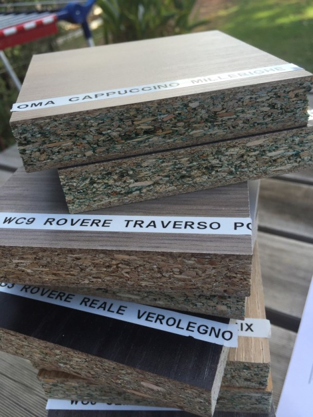 Italian-made Ecological Panels, the only formaldehyde and low voc kitchen cabinet board. Looks like particle or chipboard but it's not!