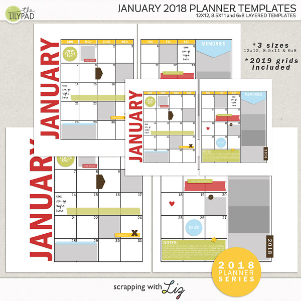 Digital Scrapbook Template - January 2018 Planner Scrapping with Liz