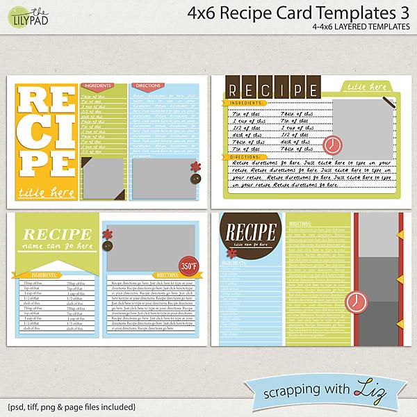 Digital Scrapbook Templates - 4x6 Recipe Card 3 Scrapping with Liz - recipe card