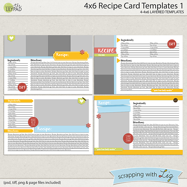 Digital Scrapbook Templates - 4x6 Recipe Card 1 Scrapping with Liz