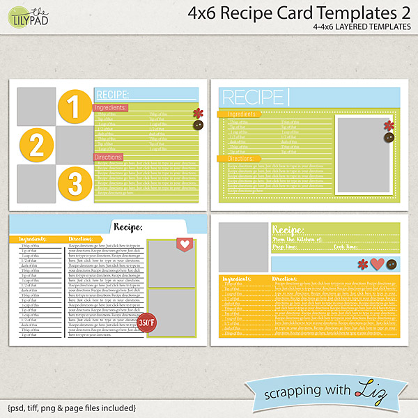 Digital Scrapbook Templates - 4x6 Recipe Card 2 Scrapping with Liz