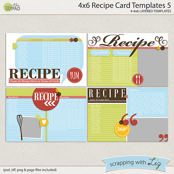 Digital Scrapbook Templates - 4x6 Recipe Card 5 Scrapping with Liz