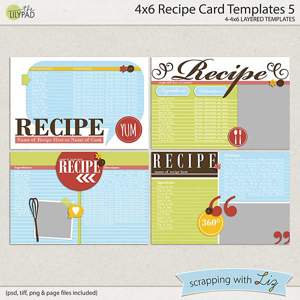 Digital Scrapbook Templates - 4x6 Recipe Card 5 Scrapping with Liz