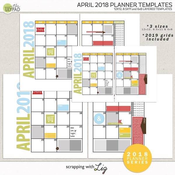 Digital Scrapbook Template - April 2018 Planner Scrapping with Liz