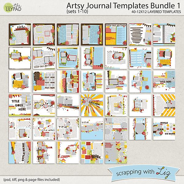 Digital Scrapbook Template - Artsy Journal Bundle Scrapping with Liz