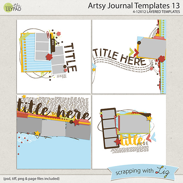 Digital Scrapbook Template - Artsy Journal 13 Scrapping with Liz