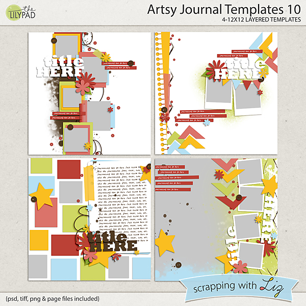 Digital Scrapbook Template - Artsy Journal 10 Scrapping with Liz