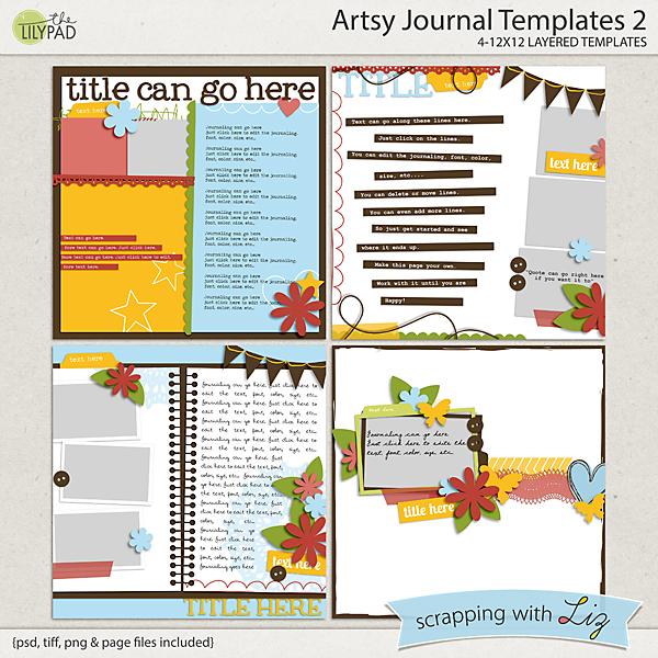 Digital Scrapbook Template - Artsy Journal 2 Scrapping with Liz