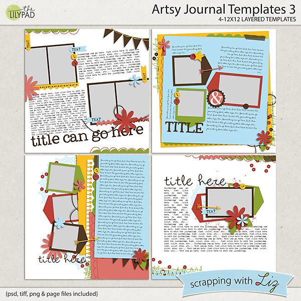 Digital Scrapbook Template - Artsy Journal 3 Scrapping with Liz