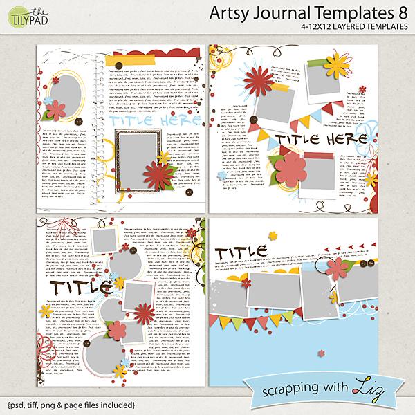 Digital Scrapbook Template - Artsy Journal 8 Scrapping with Liz