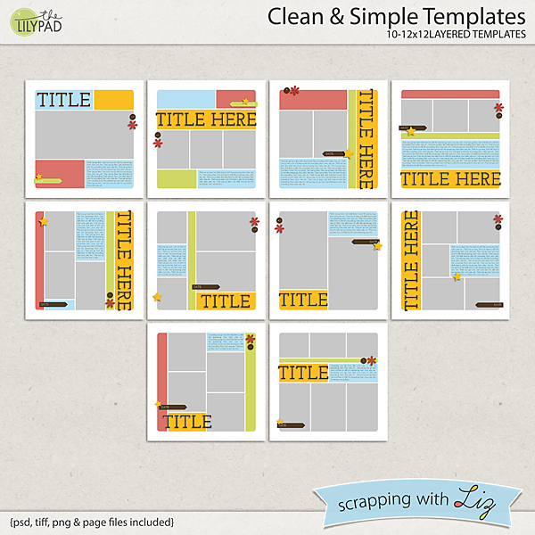 Digital Scrapbook Template - Clean and Simple Scrapping with Liz