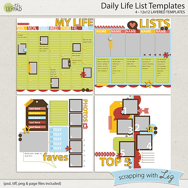 Digital Scrapbook Template - Daily Life List Scrapping with Liz