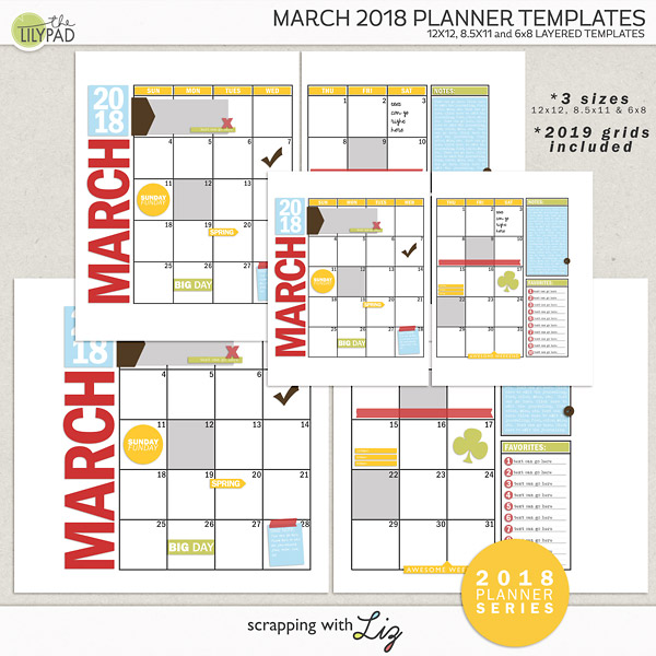 Digital Scrapbook Template - March 2018 Planner Scrapping with Liz
