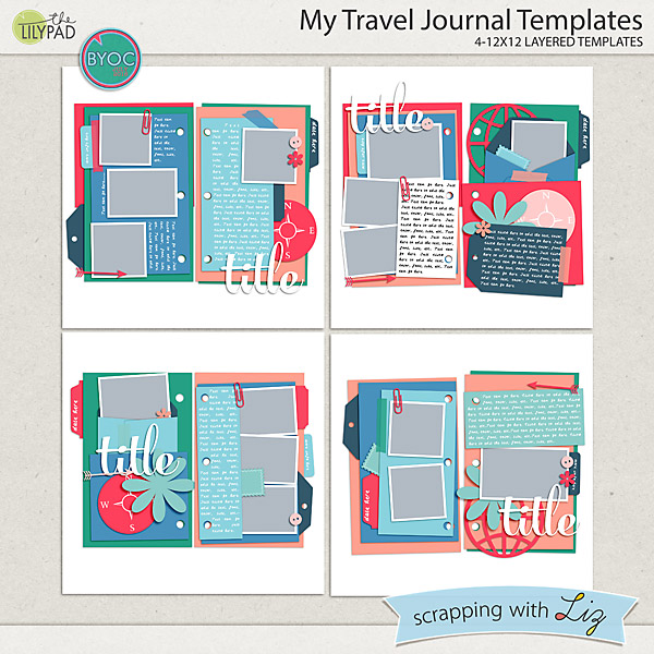 Digital Scrapbook Template - My Travel Journal Scrapping with Liz