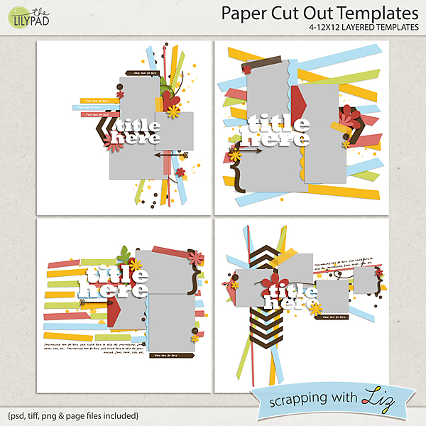 Digital Scrapbook Templates - Paper Cut Out Scrapping with Liz