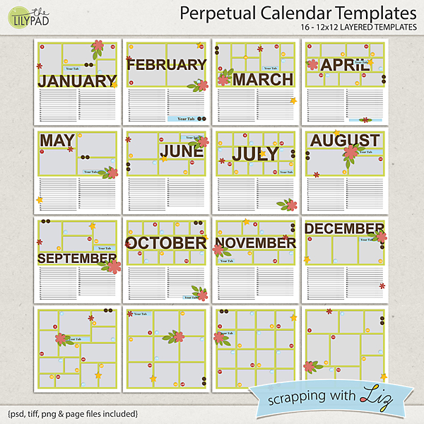 Digital Scrapbook Template - Perpetual Calendar Scrapping with Liz - perpetual calendar template