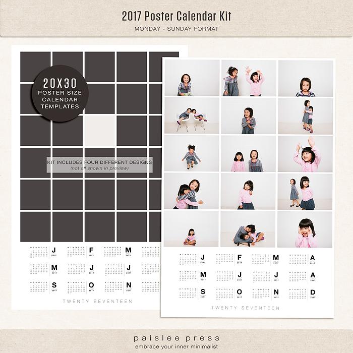 2017 Calendar Kit, Monday Start - monday sunday calendar