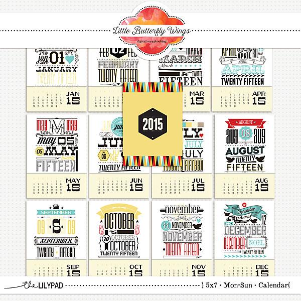 Digital Scrapbooking 5x7 calendars by Little Butterfly Wings