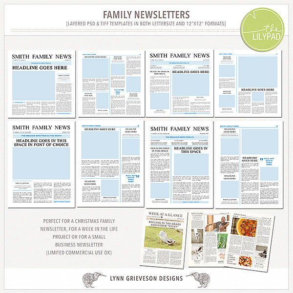 Family newsletter templates by The Lilypad designer Lynn Grieveson - news letter formats