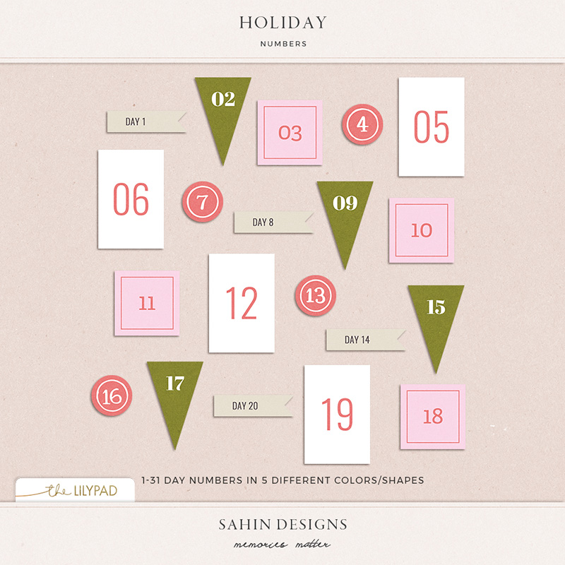 Holiday Digital Scrapbooking Printable Numbers - Sahin Designs